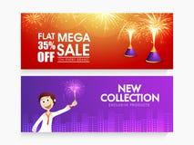 Mega Sale web header or banner for Diwali. Mega Sale with 35% flat discount, Creative website header or banner set decorated with fireworks for Indian Festival Stock Photography