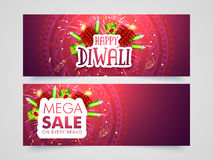 Mega Sale web header or banner for Diwali. Mega Sale website header or banner set with shiny firecrackers for Indian Festival of Lights, Happy Diwali Royalty Free Stock Images