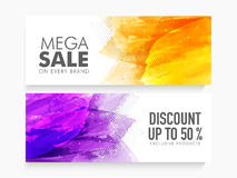 Mega Sale web header or banner set. Creative abstract website header or banner set of Mega Sale with 50% discount on Exclusive Products Stock Images