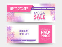 Mega sale web header or banner set. Creative stylish mega sale website header or banner set with 20% and 50% discount offer Royalty Free Stock Photos