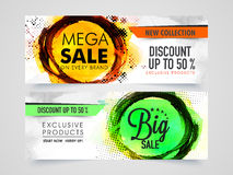Mega Sale web header or banner set. Mega Sale with 50% discount on Exclusive Products, Creative website header or banner set with abstract design royalty free illustration