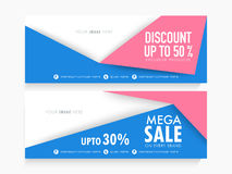 Mega Sale web header or banner set. Mega Sale with special discount offer, Creative website header or banner set with free space for your image Stock Images