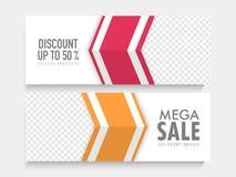 Mega Sale web header or banner set. Mega Sale website header or banner set with 50% discount offer on exclusive products Stock Photography
