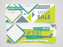Mega Sale web header or banner set. Website header or banner set of Mega Sale with 50% discount offer and free space to add your images stock illustration