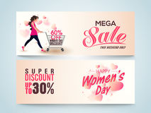 Mega Sale web header or banner for Women's Day. Stock Photos