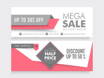 Mega Sale website header or banner set. Mega Sale with 50% discount and free shipping offer, two sided website header or banner set Stock Photos