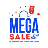 Mega sale word. Shop now type. Vector, flat illustration EPS 10. Separate objects. Isolated royalty free illustration