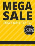 Mega sale yellow poster Stock Images