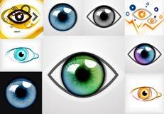Mega samling av ögondesignmallar stock illustrationer