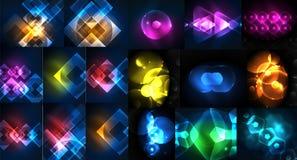 Mega samling av bakgrunder för neonabstrakt begreppform, magiska fantastiska glödande mallar för rengöringsduk eller digital tech stock illustrationer