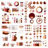 Mega samling av diagram, grafer, flödesdiagram, diagram och infographicsbeståndsdelar Royaltyfri Bild
