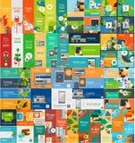 Mega samling av infographic begrepp för plan rengöringsduk Royaltyfri Foto
