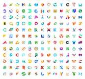 Mega samling för abstrakta logoer med bokstäver royaltyfri illustrationer