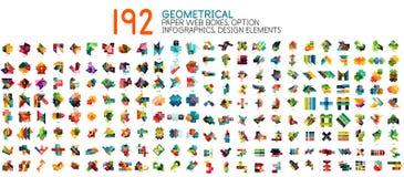 Mega samling för vektor av geometriska pappers- stilbanermallar royaltyfri illustrationer