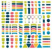 Mega samlingar av infographicslägenheten planlägger beståndsdelar, knappar, klistermärkear, anmärkningslegitimationshandlingar, p stock illustrationer