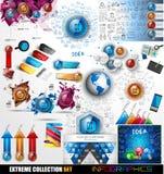 Mega- Sammlung Infographic: Glatte Knopfikonen und -mehr Lizenzfreie Stockfotos