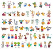 Mega- Sammlung Zeichentrickfilm-Figuren Lizenzfreies Stockfoto