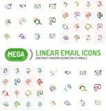 Mega- Satz E-Mail-Logos Stockbild