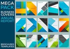 Mega- Satz Geschäfts-Jahresbericht-Broschüren-Schablonen, Quadrate, Linien, Dreiecke, bewegt wellenartig stock abbildung