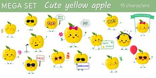 Mega- Satz von fünfzehn nettes kawaii gelben Apfelcharakteren in den verschiedenen Haltungen und von Zusätzen in der Karikaturart stock abbildung