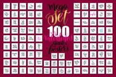 Mega- Satz von 100 Handbeschriftungsvalentinsgrüßen und von Hochzeitszitaten Lizenzfreies Stockfoto