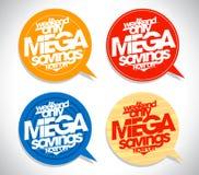 Mega savings bubbles set. Royalty Free Stock Photography
