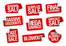 Mega savings sale stickers. stock illustration