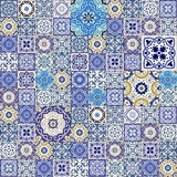 Mega  seamless patchwork pattern from colorful Moroccan tiles Royalty Free Stock Photo