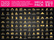 Mega Set and Big Group, Real Estate, Building and Construction Logo Vector Design Royalty Free Stock Images