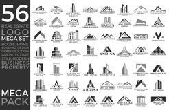 Mega Set and Big Group, Real Estate, Building and Construction Logo Vector Design stock illustration