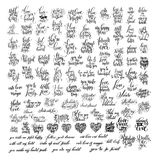 Mega set of 100 black and white hand written lettering about love Stock Images
