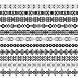 Mega set of border decoration elements patterns in black and white color. Stock Photos