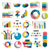 Mega Set of business 3D design graphs, charts, templates, schemes. Colummn, cubes, circle design. Infographics stock illustration
