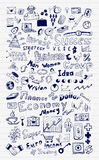 Mega set of business and finance hand drawn doodle elements. Icons collection Stock Photo