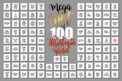Mega set of 100 christmas lettering quotes to new year Stock Images
