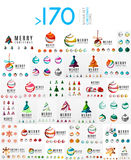 Mega set of Christmas Logos. Abstract tree, snow Royalty Free Stock Image