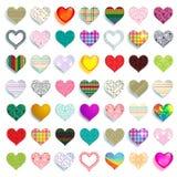 Mega set of 49 colorful scrapbook hearts Royalty Free Stock Image