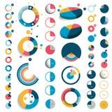 Mega set of 3d, plastic and flat circle, round charts. Graphs Stock Image