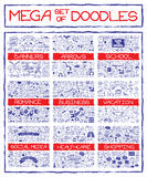 Mega set of doodle icons. Mega set of doodle social, business, medicine, vacation and school icons, banners, arrows and speech bubbles. Hand drawn pen on Stock Image