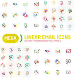 Mega set of email logos. Mega collection of email logos Royalty Free Stock Photography