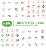 Mega set of email logos. Mega collection of email logos Stock Image