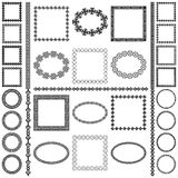 Mega set of ethnic round oval and square frames and borders. Ethnic frames and dividers in mega pack. Decoration round oval and square elements of different size stock illustration