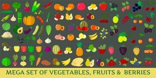 Mega set of fresh vegetables, fruits and berries illustrations on a dark background. Mega set vegetables, fruits and berries . Organic vegetarian healthy food Royalty Free Stock Image