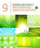 Mega set of green abstract backgrounds. | summer or spring seasonal waves, swirls, textures, templates Stock Photography