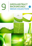 Mega set of green abstract backgrounds vector illustration