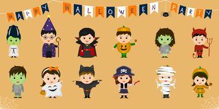Mega set of Halloween party characters. Twelve cute children in different costumes for Halloween isolated on an orange background. Cartoon, flat, vector vector illustration