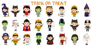 Mega set of Halloween party characters. Twenty four children in different costumes for Halloween on a white background . Cartoon, vector illustration