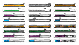 Mega set of hand-drawn vector doodle progress bar Royalty Free Stock Image