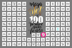 Mega set of 100 hand lettering positive quotes posters. About unicorn, mermaid, magic and dreams, calligraphy vector illustration big collection Royalty Free Stock Images