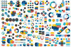 Mega set of infographic elements charts, graphs, circle charts, diagrams, speech bubbles. Royalty Free Stock Images
